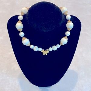 Monet necklace with white beads and gold.